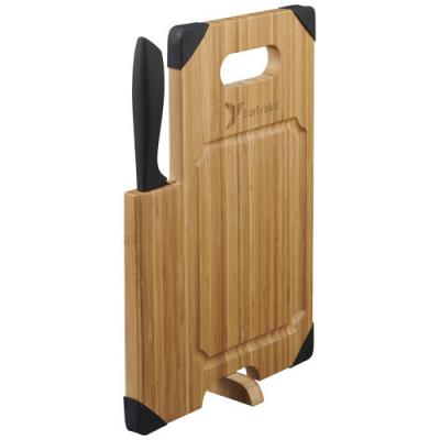 Image of Avery bamboo cutting board with knife